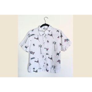White 🌈 Crop Top Button Down Bird Pattern Blouse